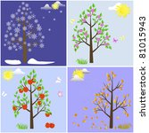 trees in four seasons spring ... | Shutterstock .eps vector #81015943
