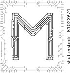 alphabet of printed circuit...   Shutterstock .eps vector #81023974