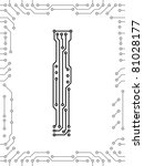 alphabet of printed circuit... | Shutterstock .eps vector #81028177