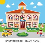 Time to go back school vector illustration background. Bus, children and school facade composition. - stock vector