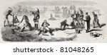 Old illustration of Cuirassiers bivouac in Chalons camp. Created by Worms, published on L