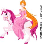 beautiful princess with pink... | Shutterstock .eps vector #81049360