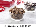 Mini spiced cookies eaten in Holland on the 5th of December to celebrate Sinterklaus. - stock photo