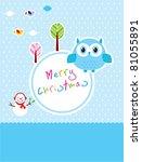 cute owl merry christmas... | Shutterstock .eps vector #81055891