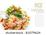 Fried Rice On White Plate With...