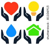 Hands holding heart, light bulb, water drop and house - stock vector