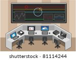 isometric control centre room... | Shutterstock .eps vector #81114244