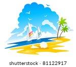 tropical coastline  palms ... | Shutterstock .eps vector #81122917