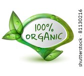 green 100  organic pointer with ... | Shutterstock .eps vector #81130216