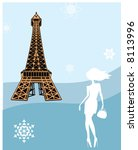 Stock vector girl at the eiffel tower 8113996