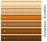 six wooden rulers on white... | Shutterstock .eps vector #81158392