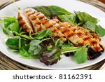 Grilled chicken breast in Provence herbs - stock photo