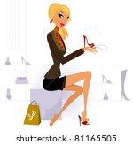 Blond Hair Woman Buying Fashio...