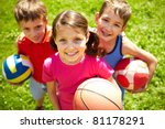 portrait of three little... | Shutterstock . vector #81178291