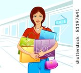 illustration of lady with shopping bag in mall - stock vector