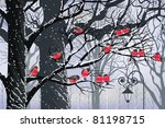 Bullfinches On Trees In Winter...