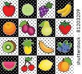 fruits  polka dot tiles  fresh... | Shutterstock .eps vector #81203209