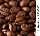 Roasted coffee beans on background. - stock photo
