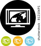Flatscreen Tv Icon  Vector
