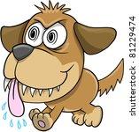 Wild Crazy Evil Insane puppy Dog - stock vector