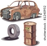 Old Broken Rusty Car  Rusty Oi...