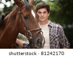 Young Man And A Horse In The...