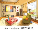 the light and empty interior of ... | Shutterstock .eps vector #81255211