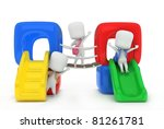3d illustration of kids playing ... | Shutterstock . vector #81261781