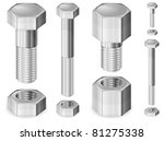 Set of different size metal bolts and nuts isolated on white, vector illustration - stock vector