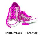 Closeup Of Pink Sneakers With...