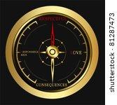 bright golden compass | Shutterstock .eps vector #81287473