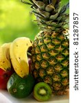 pineapple and fruits. - stock photo