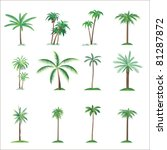 palm tree collection  isolated... | Shutterstock .eps vector #81287872