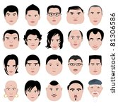man face shape hairstyle round... | Shutterstock .eps vector #81306586