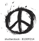 Black peace symbol created in grunge style