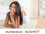 charming woman lying on a... | Shutterstock . vector #81324577