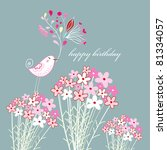 greeting card with a bird | Shutterstock .eps vector #81334057