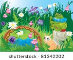 frog riding snail   fairy tale... | Shutterstock .eps vector #81342202