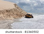 a buggy stuck on a beach in... | Shutterstock . vector #81360502