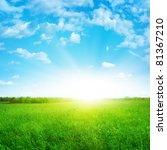 sunshine in blue sky and green...   Shutterstock . vector #81367210