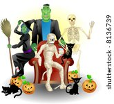 Halloween Party A  illustration of some monster friends enjoying Halloween - stock photo