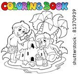 coloring book with summer theme ... | Shutterstock .eps vector #81370939