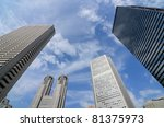 Cityscape of government buildings in Shunjuku, Tokyo, Japan including the Tokyo Metropolitan Government Building. - stock photo