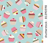 cupcake retro fabric | Shutterstock .eps vector #81390598