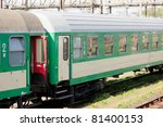 Passenger car is a piece of railway rolling stock that is designed to carry passengers. - stock photo