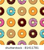 seamless texture of donuts | Shutterstock .eps vector #81411781
