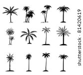 Palm Tree Collection Flat Icon...