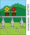 happy cartoon flowers in a pot...   Shutterstock .eps vector #81437395