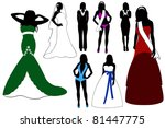 Illustration of women wearing different dresses