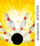 bowling strike on a yellow star ...   Shutterstock . vector #81473194